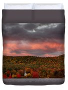 New England Fall Foliage Over The Small White Church Duvet Cover