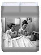 Nurse In Training Bathing Dummy Patient Circa Duvet Cover