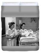 Nurses Training Dummy Babies Circa 1960 Black Duvet Cover