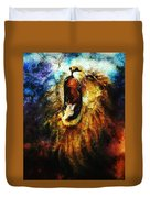 Painting Of A Mighty Roaring Lion Emerging From An Abstract Desert Pattern Pc Collage Duvet Cover