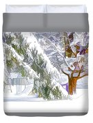 Pine Branch Tree Under Snow Duvet Cover