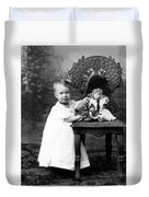 Portrait Headshot Girl Doll December 1903 Black Duvet Cover