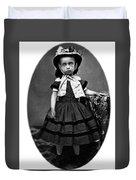 Portrait Headshot Girl In Bonnet 1880s Black Duvet Cover