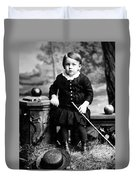 Portrait Headshot Toddler Walking Stick 1880s Duvet Cover