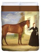 Portrait Of A Lady With Her Horse Duvet Cover by English School