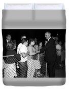 President Lyndon Johnson Shaking Childrens Hands Duvet Cover