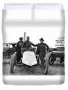 Race Car Team 1923 Black White 1920s Archive Duvet Cover