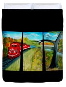 Red Train Passage Dreamy Mirage Duvet Cover