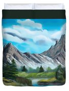 Rocky Mountain Tranquil Escape Dreamy Mirage Duvet Cover