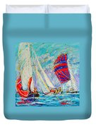 Sail Of Amsterdam II - Tree Sailboats  Duvet Cover