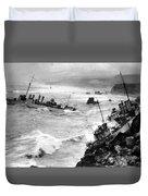 Shipwreck In Rough Seas 1940s Black White Duvet Cover