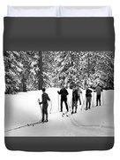 Skiers January 19 1967 Black White 1960s Archive Duvet Cover