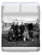 Skydiving Team Posing Airplane Circa 1960 Black Duvet Cover