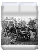 Soldiers Cannon 1898 Black White 1890s Archive Duvet Cover