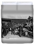 Soldiers Loading Cannon 19171918 Black White Duvet Cover