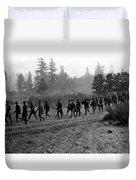 Soldiers Maneuvers Circa 1908 Black White 1900s Duvet Cover