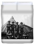 Soldiers Posing In Front Tents 19171918 Black Duvet Cover
