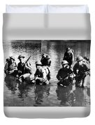 Soldiers Rifles Walking Through Water 1943 Black Duvet Cover