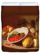 Still Life Of Raspberries Lemons And Asparagus  Duvet Cover