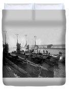 Submarines In Harbor Circa 1918 Black White Duvet Cover