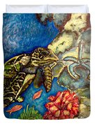 Sweet Mystery Of The Sea A Hawksbill Sea Turtle Coasting In The Coral Reefs Original Duvet Cover