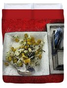 Table Settings At Time Of A Meal Duvet Cover