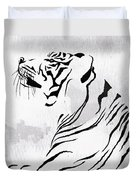 Tiger Animal Decorative Black And White Poster 3 - By Diana Van Duvet Cover