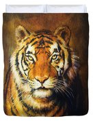 Tiger Head, Color Oil Painting On Canvas. Duvet Cover