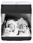 Twins In Baby Buggy 1910s Black White Archive Duvet Cover