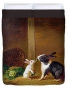 Two Rabbits Duvet Cover by H Baert
