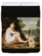 Venus And Cupid Warming Themselves  Duvet Cover