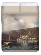 View Of Isola San Giulio In Lake Orta Duvet Cover