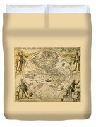 W. Hemisphere Map, 1596 Duvet Cover