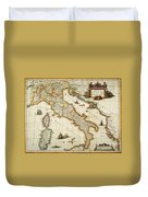 Map Of Italy, 1631 Duvet Cover