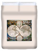 World Map, 17th Century Duvet Cover