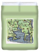 New England Map 1677 Duvet Cover