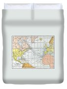 Map: Atlantic Voyages Duvet Cover