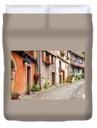 Half-timbered House Of Eguisheim, Alsace, France Duvet Cover