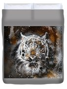 Tiger Collage On Color Abstract  Background  Rust Structure Wildlife Animals Duvet Cover