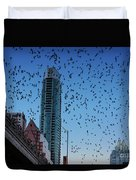1.5 Million Mexican Free-tail Bats Overtake The Austin Skyline As They Exit The Congress Avenue Bridge Duvet Cover