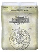 1908 Pocket Watch Patent  Duvet Cover