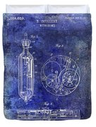 1913 Pocket Watch Patent Blue Duvet Cover