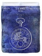 1916 Pocket Watch Patent Blueprint Duvet Cover