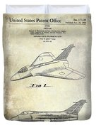 1956 Jet Airplane Patent 2 Blue Duvet Cover