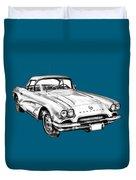1962 Chevrolet Corvette Illustration Duvet Cover