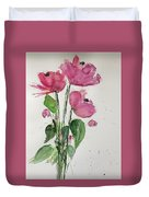 3 Pink Flowers Duvet Cover