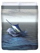 A Blue Marlin Bursts From The Ocean Duvet Cover
