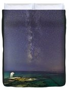 A Boat Under The Milky Way In Andros - Greece Duvet Cover