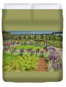 A Corridor Of Purple Sage Flowers And Stachys Lanata Sunlit Duvet Cover