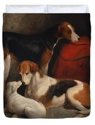 A Couple Of Foxhounds With A Terrier - The Property Of Lord Henry Bentinck  Duvet Cover